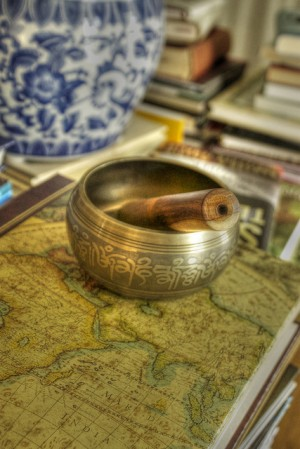 tibetan bowl on map psyberartist